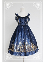 Surface Layer Flounce Straps Lolita Skirt / JSK- Gold Stamping Cross by Souffle Song