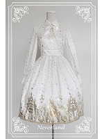 Puff Sleeves Elegant Turndown Collar Lolita Dress / OP - Gold Stamping Cross by Souffle Song
