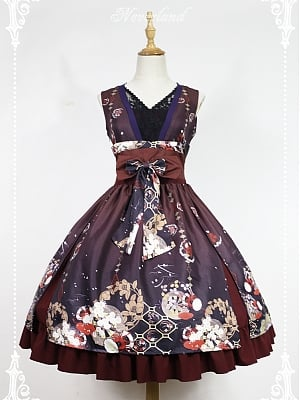 Custom Size Available Bowknot Decoration On The Waist Ruffle Hemline Lolita JSK - Hyakki Yakō Hone-Onna by Souffle Song