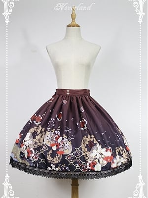 Custom Size Available Natural Waist Lace Applique Lolita Skirt - Hyakki Yakō Hone-Onna by Souffle Song