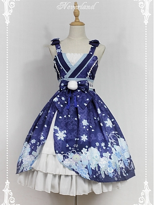 Custom Size Available Empire Waist With Bowknot Decoration And Layered Flounce Hemline Lolita JSK - Hyakki Yakō Yuki-Onna by Souffle Song