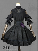 Double Breasted Waist Pleated Brocade SK by Ichigo15
