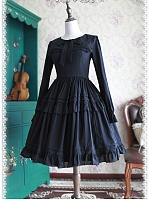 Black Sailor Collar with Tiered Skirt Lolita OP - by Infanta