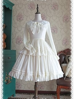 White Sailor Style Collar with A Bow Decoration Long Sleeves OP - by Infanta