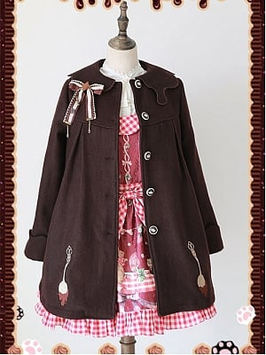 Chocolate Spoon Brushed Flower Embroidered Overcoat by Infanta
