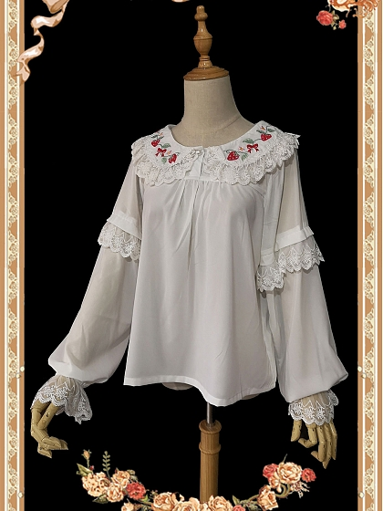 Strawberry Bouquet Long-sleeve Embroidery Can be Worn on Both Sides Blouse by Infanta