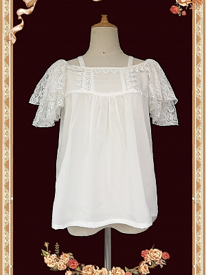 Free Size Simple Flying Sleeves Chiffon Lace Blouse by Infanta