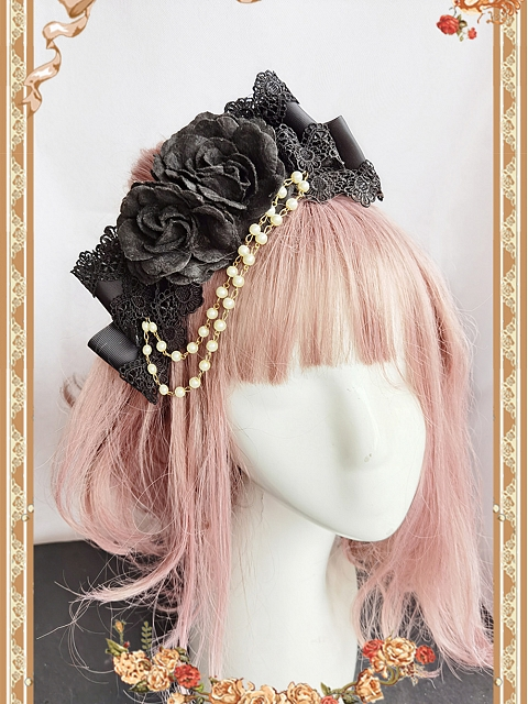 Black Lolita Hairclip With Artificial Pearls Chain by Infanta