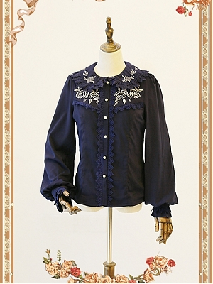 Autumn or Winter Fitting Embroidered Rose Blouse by Infanta