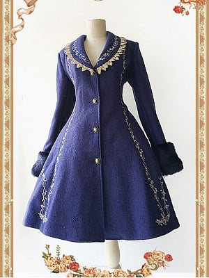 Elegant Cinderella Themed Embroidery A-Line Coat by Infanta