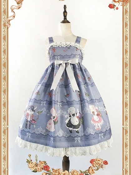 Berry and Cat Printed Empire-Line JSK by Infanta
