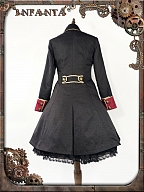 Front Placket Fake Two-Pieces A-line Coat by Infanta