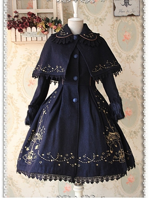 Removable Cape Carousel Embroidered Coat by Infanta