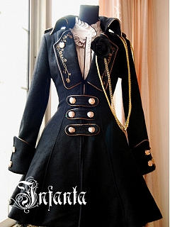 Military Uniform Style A-Line Coat by Infanta