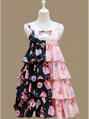 Cookie And Cat Bicolor Tiered Lolita Dress JSK by Iris Island