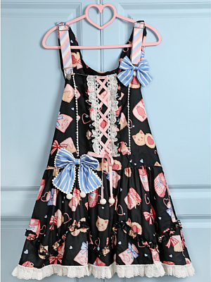 Cookie And Cat Strap Lolita Overall Dress by Iris Island