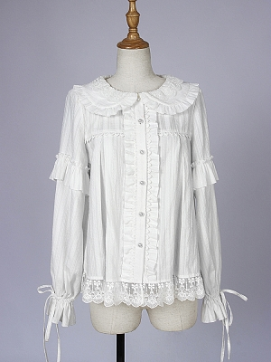 Sweetheart Lace Hem Lolita Shirt by Iris Island
