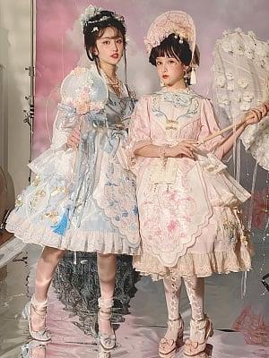 Little Lily of The Valley Qi Lolita Dress OP Full Set by Jellyfish Lolita