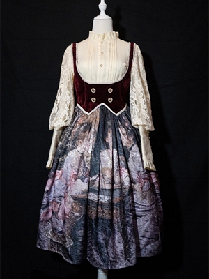 Bridge Game Underbust Oil Painting Lolita Strap Dress by Kuma The Lamb