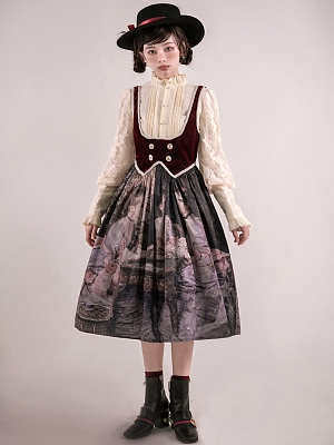 Bridge Game Underbust Oil Painting Lolita Dress Full Set by Kuma The Lamb