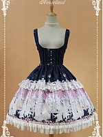 Custom Size Available Under-Bust Bowknot Decoration On The Back And Flounce Hemline Lolita JSK- Kurfü by Souffle Song