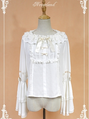 Lace Wide Collar Long Sleeves With A Bowknot Decoration On The Neckline Lolita Shirt - Kurfü by Souffle Song