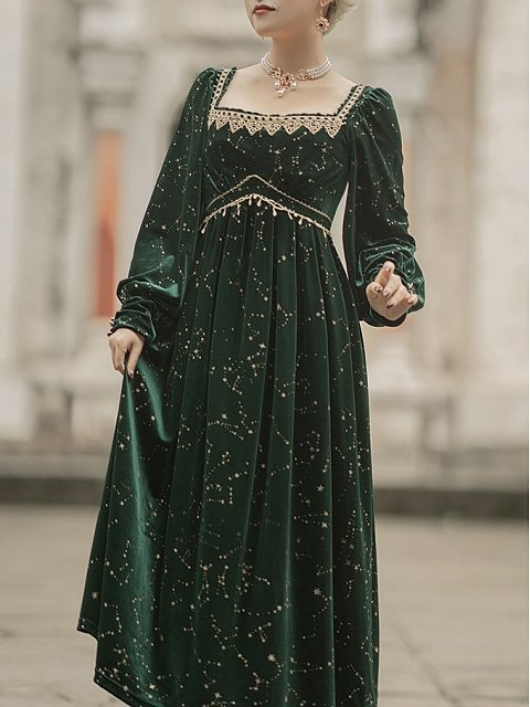 Tudor Night Square Neckline Long Sleeves Dress by LAERS