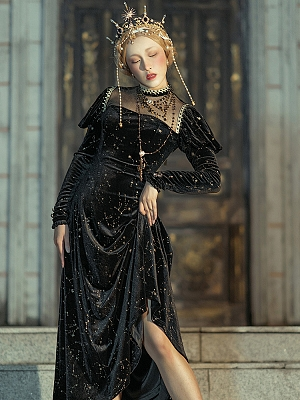 Tudor Night High Collar Long Sleeves Dress by LAERS