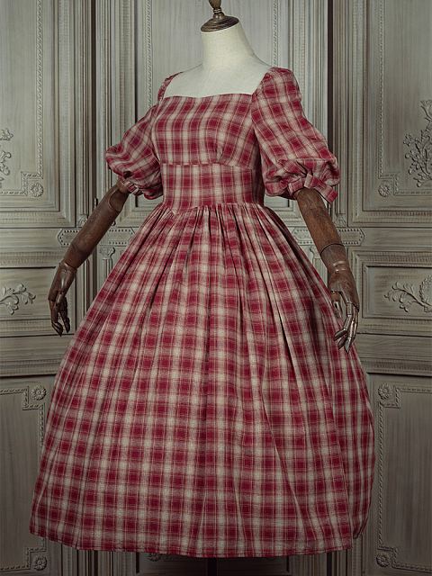 Lunch on the Grass Elegant Vintage Plaid Dress by LALAERS