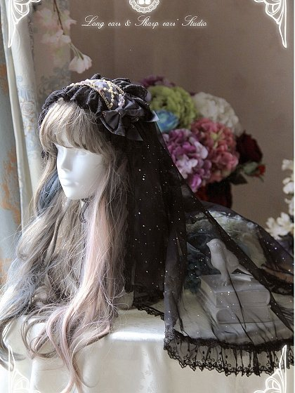 Acrossed Imitated Pearls Hairband with Veil by Long Ears and Sharp Ears