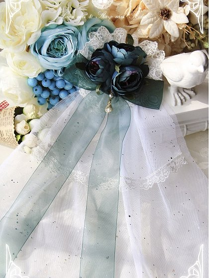 Imitated Flower Hair Clip with Veil by Long Ears and Sharp Ears