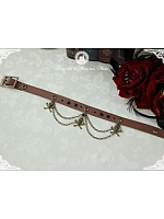 Imitated Leather Choker with Small Chain