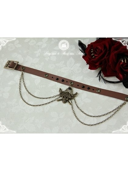 Imitated Leather Belt Inspired Choker with Big Chain