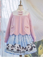 PINK-UP Panda Stand Collar Coat By Long Ears And Sharp Ears