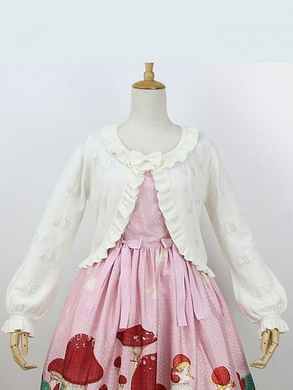 Cherry Flounce Trims Bishop Sleeves Cardigan By Little Dipper