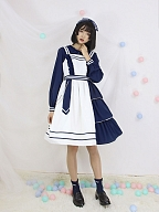 Pre-order Navy Contrast Color JSK by Little Dipper