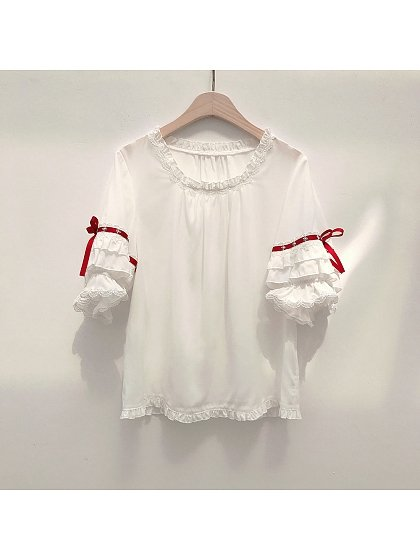 Sweet Lolita Strawberry Waffles Short Sleeves Blouse by Little Dipper