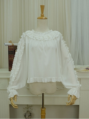 Small Glutinous Rice Ruffle Neck Sheer Blouse by Little Dipper