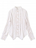 Stand Collar Gold Stamping Striped Shirt by Lda
