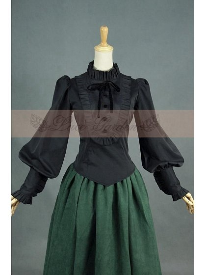 Black Vintage Slim Blouse with Ruffled Neckline by Lace Garden