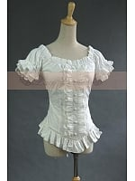 Victorian Gothic Punk Puff Sleeves Top Shirt Pleated Blouse by Lace Garden