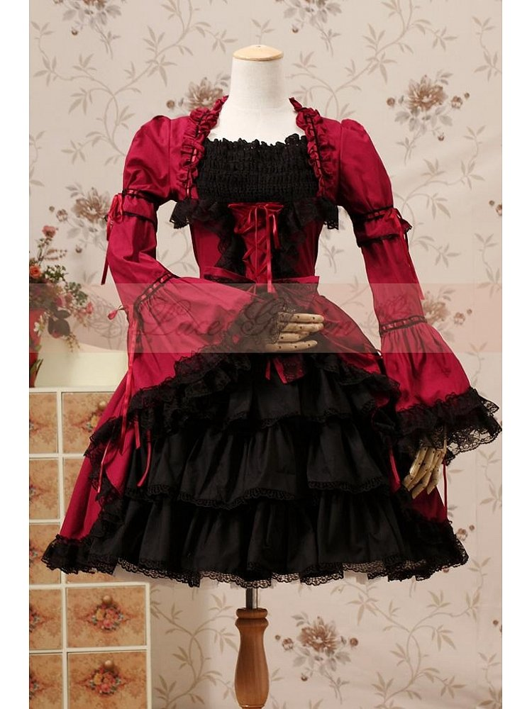 Gothic Lolita Dress   Lolita OP with Layered Skirt and Removable Long  Sleeves by Lace Garden 38d157287d26