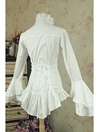 Victorian Gothic Royal Ruffle Jabot Shirt with Cape sleeves by Lace Garden