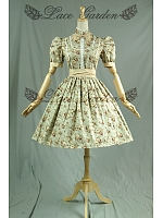 Floral Printed High Collar Vintage Dresses with Bubble Short Sleeves by Lace Garden