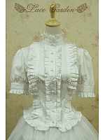 Victorian Classic Princess  Short  Ruched Sleeves Standing  Collar Shirt by Lace Garden