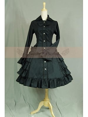 Victorian Gothic Multi-layer Ruffled Black Cotton Trench Coat Dress Steampunk Costume by Lace Garden