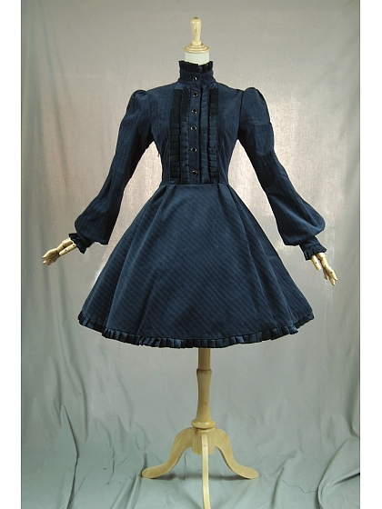 Gothic Victorian Steampunk Standing Collar Corduroy Trench Coat Dress By Lace Garden