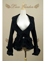Gothic Vintage Velvet Turndown  Collar with Bow-Knot Decorated Jacket by Lace Garden
