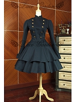 College Cosplay Steampunk Military Accent  Trench Coat Dress by Lace Garden