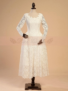 High Quality Vintage Scoop Neckline Lace Tea-length Casual Wedding Dress / Cocktail Dress by Lace Garden